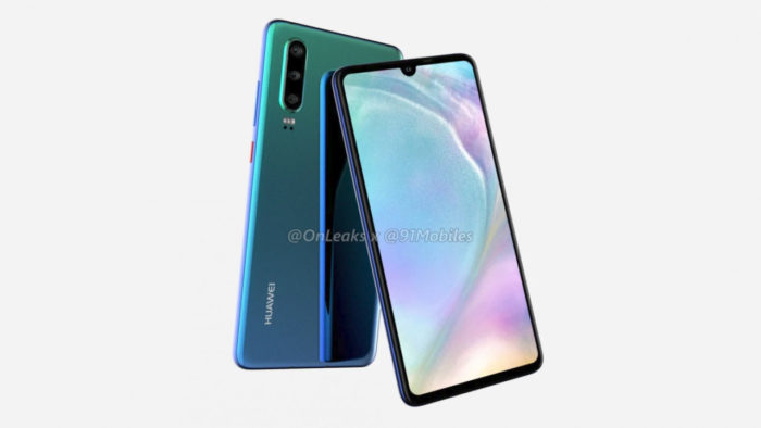 Huawei P30 показали на рендере