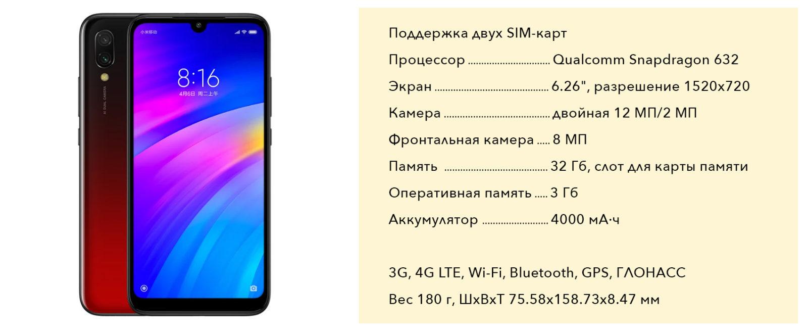 Характеристики Xiaomi Redmi 7